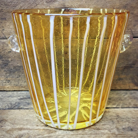 Murano Handblown Art Yellow with White Stripes Ice Bucket Italy