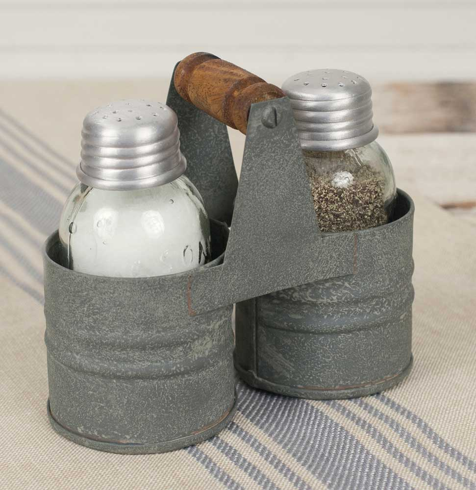 Mason Jar Salt & Pepper Shakers in Tin Caddy