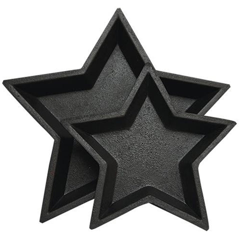 Set of 2 Rustic Black Nesting Pressed Wood Star Trays
