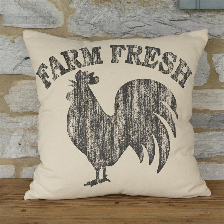 "Farm Fresh Rustic Rooster 17"" Pillow"