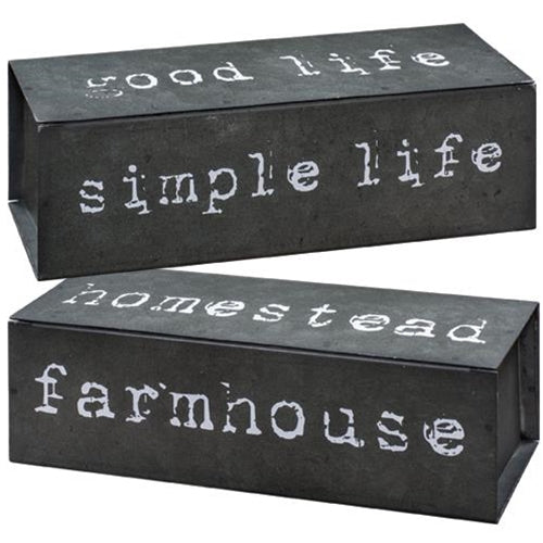 Farmhouse Four-Sided Text Metal Block