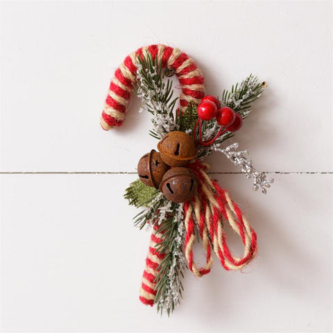 Candy Cane Rusty Bells and Berries Decoration