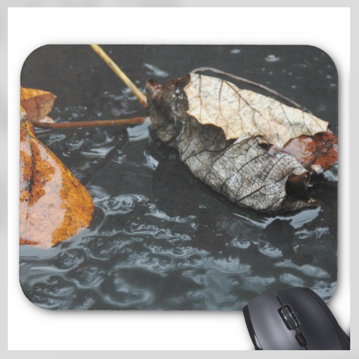 Nature Photo Mousepad - Rainy Leaves - Mouse Pad
