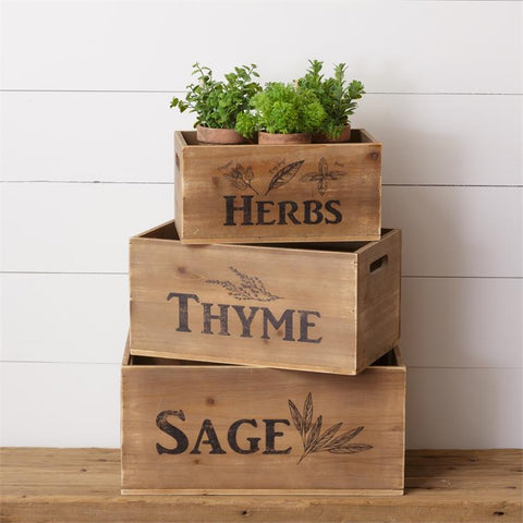 Set of 3 Wooden Crates - Sage, Thyme, Herbs