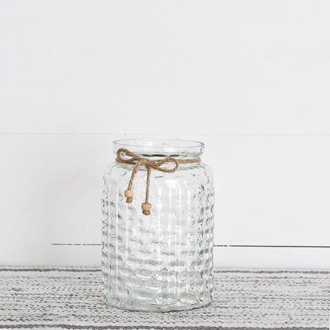 "Bead and Tassle 6.75"" Glass Jar Vase"