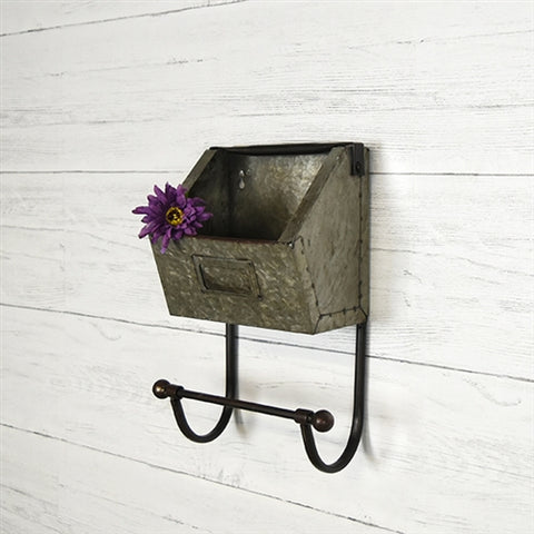 Industrial Wall Tin Pocket with Hanging Bar