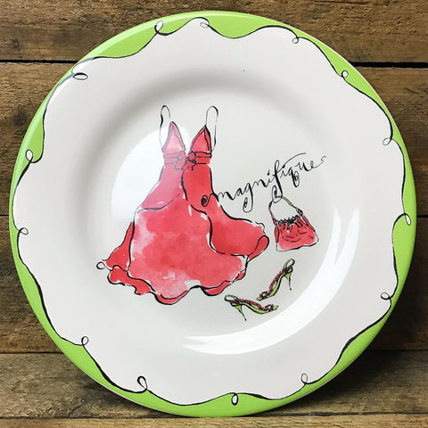 "Rosanna French Red Dress Purse & Shoes ""Magnifique"" Salad Plate"