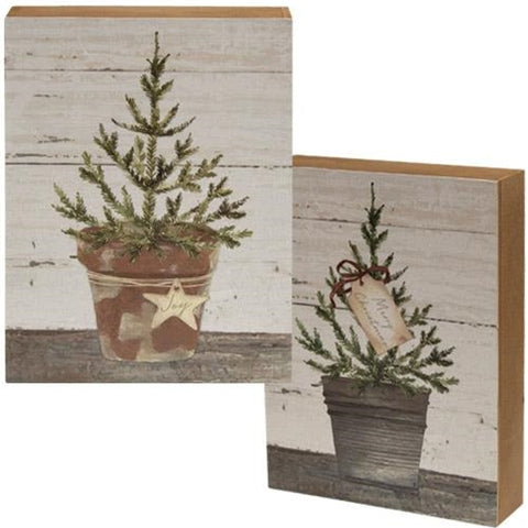 Set of Two Merry Christmas Potted Trees Box Signs