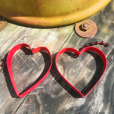 Set of 2 Hanging Red Metal Cookie Cutter Hearts Decorations