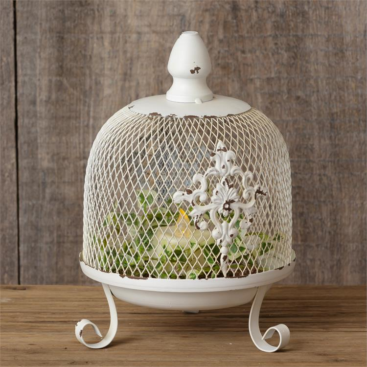 Fleur de Lis Chippy White Dome on Stand