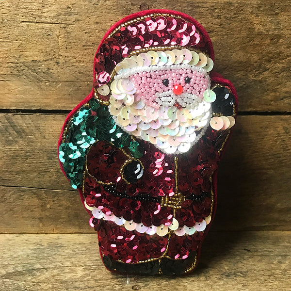 Collectible GAC Santa Sequins and Beads Trinket Box