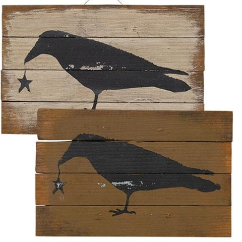 Set of Two Rustic Crow Signs