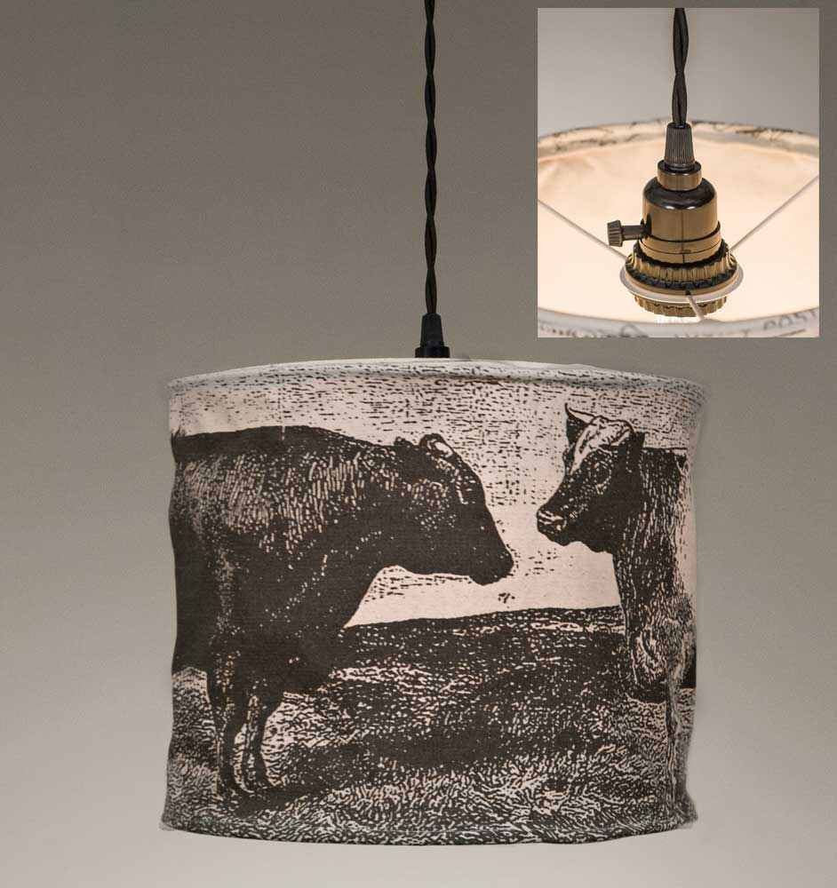 Cows in the Field Canvas Pendant Lamp