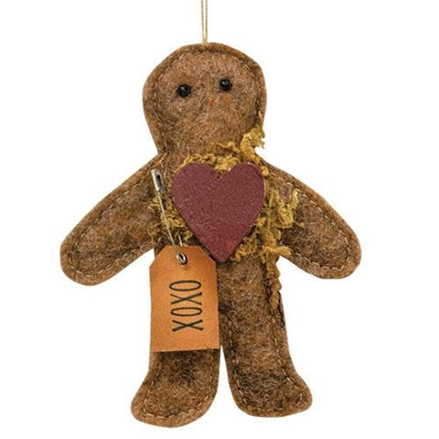 Gingerbread Man XOXO Felt Ornament