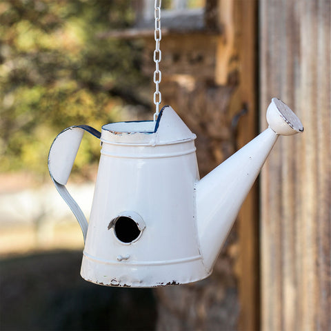 Distressed White Hanging Watering Can Birdhouse