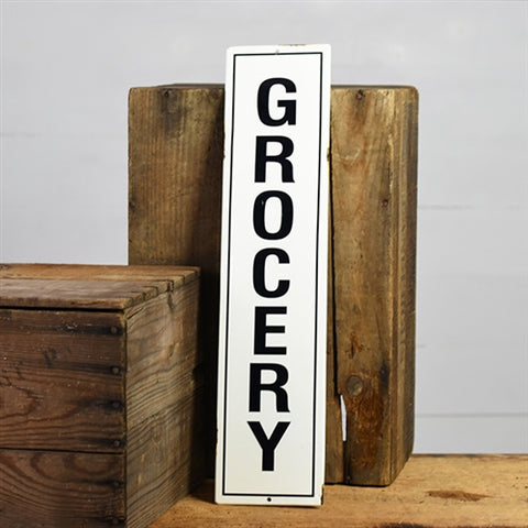 "Grocery 20"" Tin Sign with distressed finish"