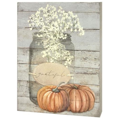Grateful Mason Jar & Pumpkins Box Sign
