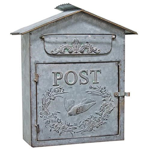 Tin Birdhouse Post Box