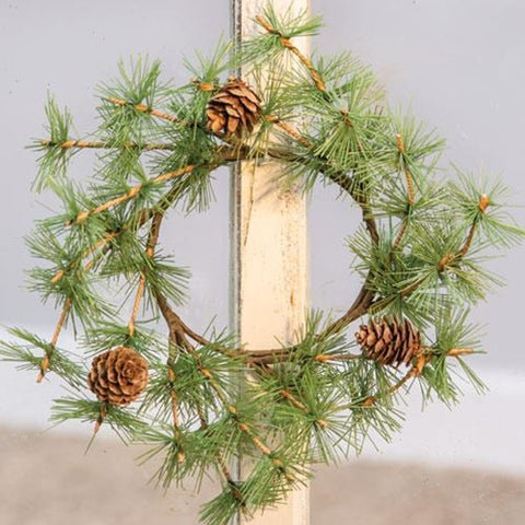 "Tahoe Evergreen & Pinecones 9"" Faux Ring Wreath"