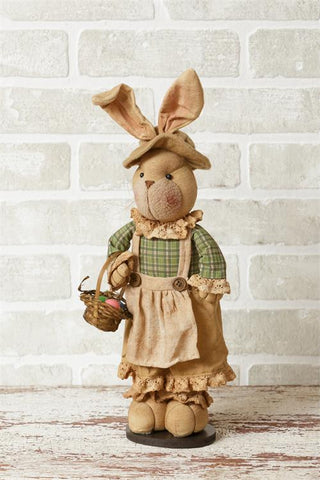 Easter Girl Bunny Plush Doll with Country Dress and Basket of Eggs