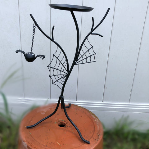 Spider and Web Metal Pillar Candle - Pumpkin Holder