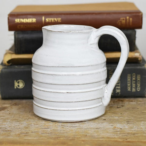 "White Rib Stoneware Pitcher 5"" H"