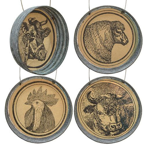 Farm Faces Metal Ornaments - 4 Assorted Cow Sheep Rooster