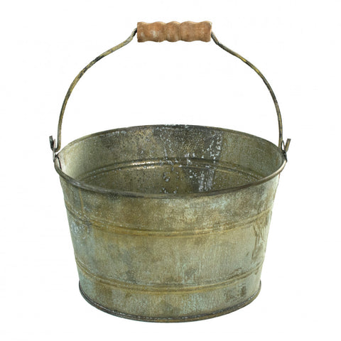 "Rustic Tin Bucket with Wooden Handle 6"" with rust green finish"