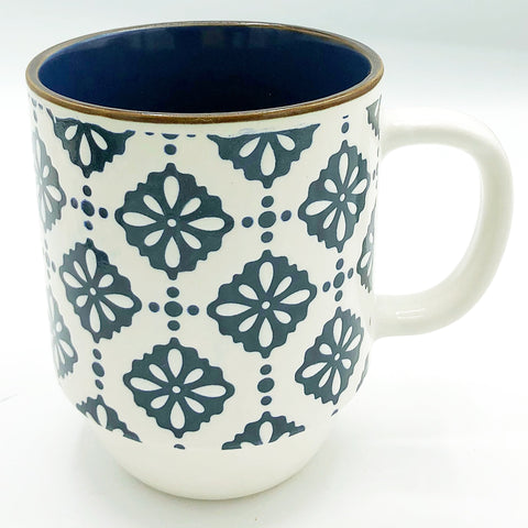 Boston Warehouse White with Blue Floral Design Mug