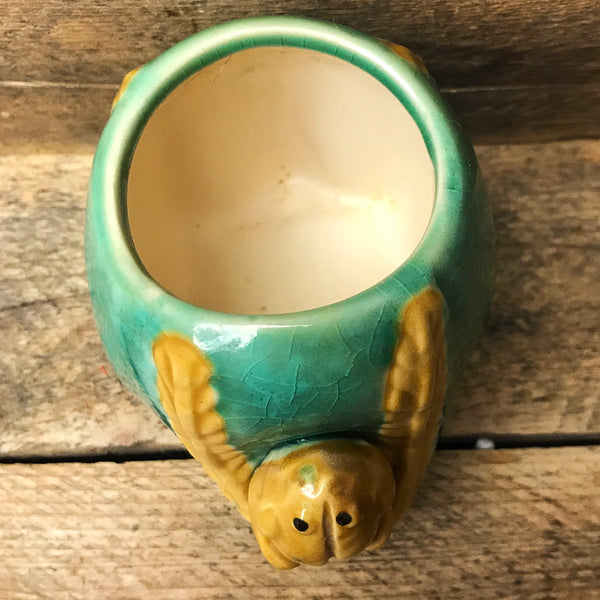 Green and Tan Frog Planter
