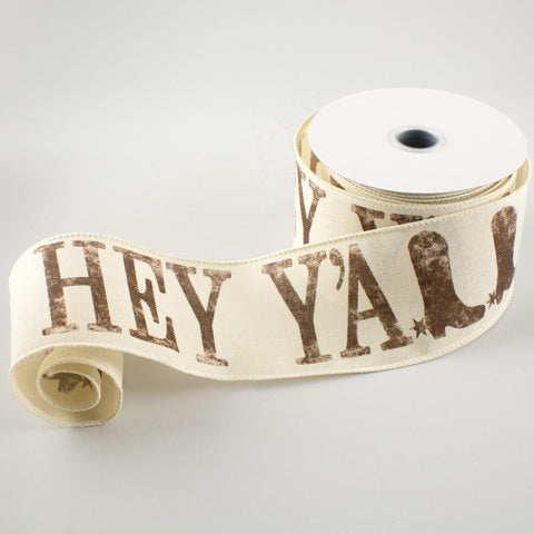 "Hey Y'all Cowboy Boots Ribbon 2.5"" W x 10 yards"