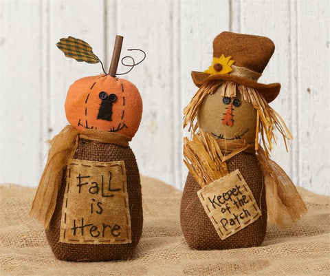 Set of 2 Fall Friends - Pumpkin and Scarecrow