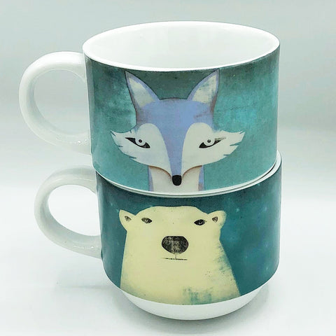 Set of 2 Pier 1 Polar Bear and Fox Stackable Mugs