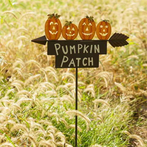 Pumpkin Patch Jack O' Lanterns Garden Stake