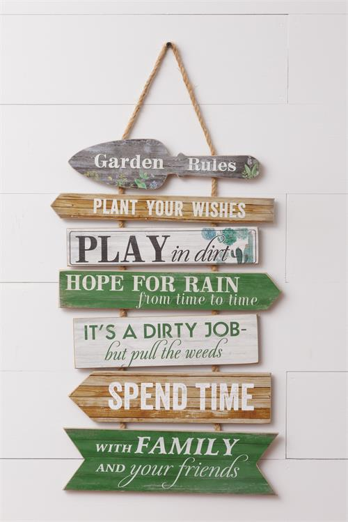 Garden Rules Stacked Placards Sign with Jute Hanger