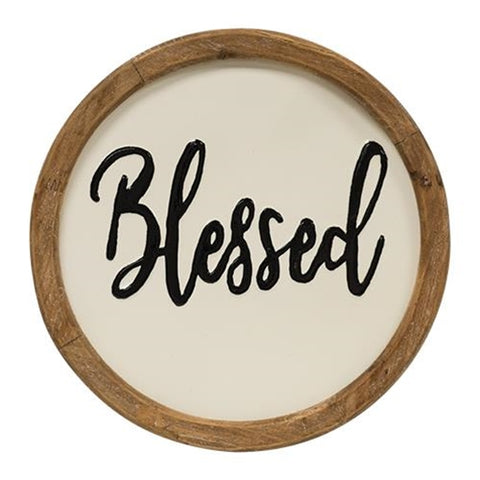 "Blessed Script Round 12"" Framed Sign"