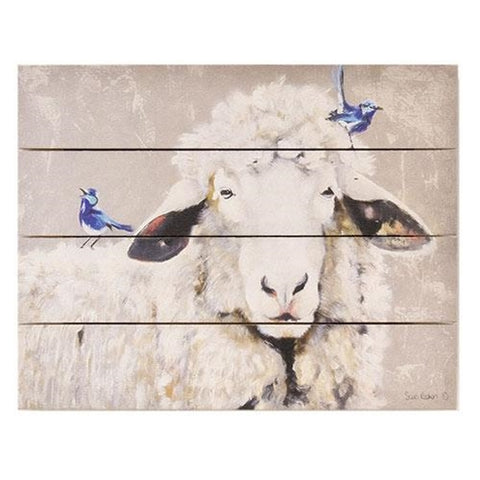 Days Like These Sheep and Blue Birds Pallet Art