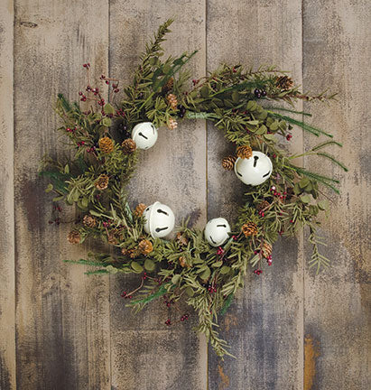 "Country Bell Pine 20"" Faux Evergreen Wreath"
