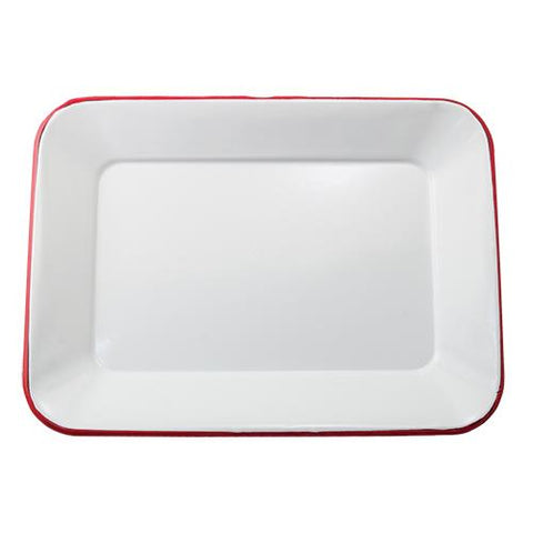 White with Red Rim Enamelware Tray
