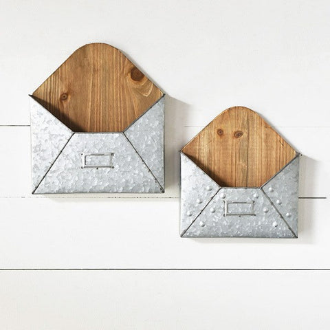 Set of 2 Wooden and Metal Envelope Wall Pockets