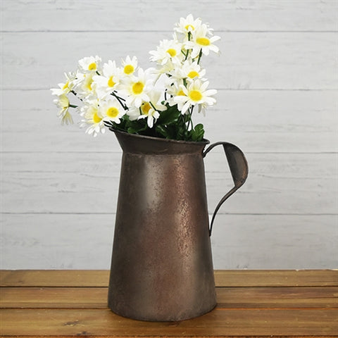 "Rustic Farmhouse Metal Pitcher 10.75"" H"