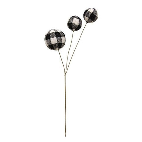 "Black & White Plaid Ball 14"" Decorating Pick"