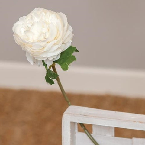 "White Peony Faux Flower 11"" Single Stem"