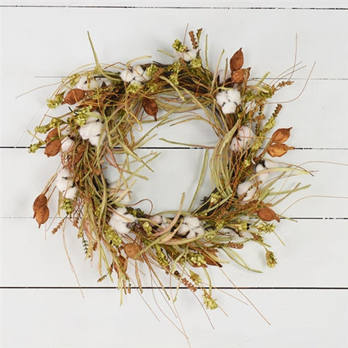 "Natural Grasses and Cotton 20"" Wreath"