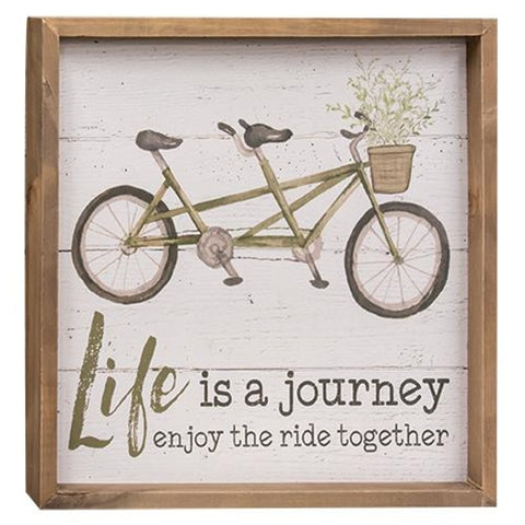 Life is a Journey Enjoy The Ride Together Bicycle Framed Sign