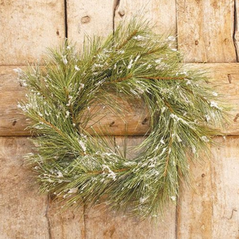 Snowy Silver Fir 18 in Faux Wreath