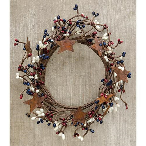 "Americana Mix Pip Berry With Stars 8"" Small Wreath Ring"
