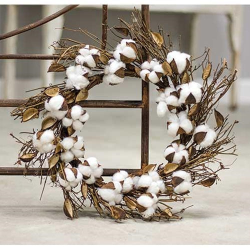Cotton and Twig Wreath 18""
