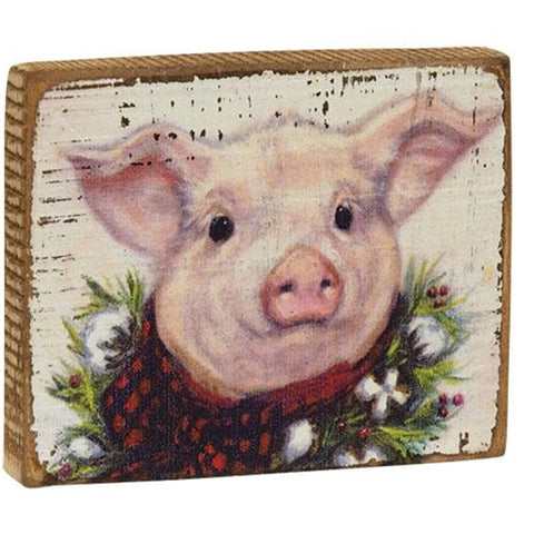 Christmas Pig Wooden Block Sign