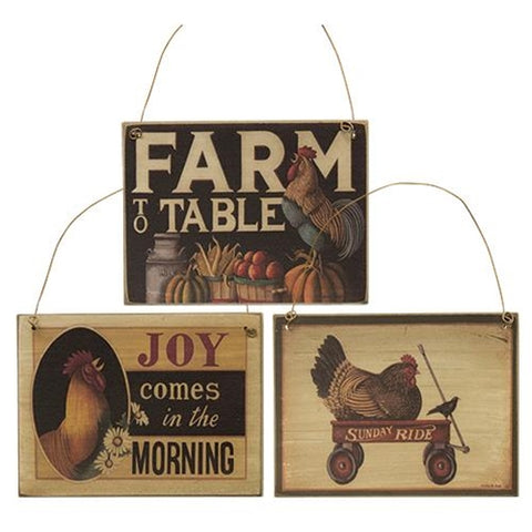 Set of Three Farm to Table Ornament